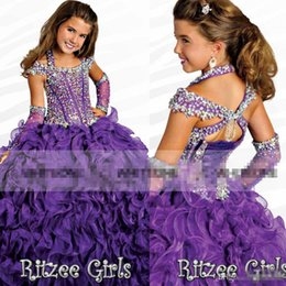 Wholesale 2016 Ritzee Girls Newest Ball Gowns Halter Girls Pageant Dresses Capped Beads Crystal Piping Floor lengthLace up pageant dresses for girls