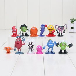 12pcs lot Hot sale Pac Man Cute cartoon Ghostly Adventures Action Figures Pacman Pixels Movie Figures Toys best gift for kid Free shipping