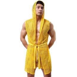Wholesale-1pcs men robe bathrobe brand sexy men pajamas long set mens sleepwear sheer mesh gay wear men sleep lounge kimono for man