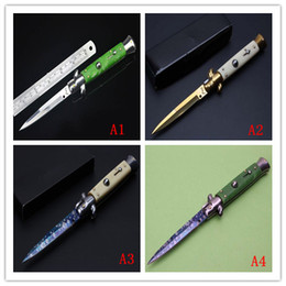 Wholesale 2016 new golden Italy style pocket knife quot Godfather knife double insurance switch