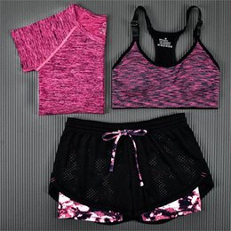 Wholesale Ms Summer Workout Clothes Suits Show Thin Quick drying Running Yoga Vest Three piece Suit Jacket Shorts