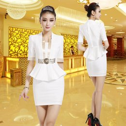 Wholesale White Fashion Waisted Shape Skirt Suits For Women Formal Slim Work Wears For Hotel Workers Airline Uniforms