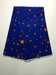 Wholesale Popular Negeria royal blue with stars pattern African painting super wax fabric hollandais batik wax for clothing VH100 yds pc