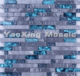 Wholesale 2016 Factory Grey Stone Blue Crystal Glass Mosaic Tile kitchen backsplash bathroom wall tiles glass stone mosaic tile