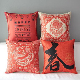 45cm Red Chinese Style Gift Cartoon Cotton Linen Fabric Throw Pillow 18inch Handmade New Home Office Bedroom Decoration Sofa Back Cushion
