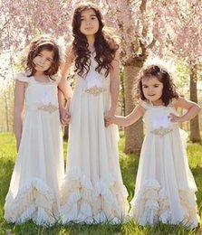 Crystals Feather 2019 Flower Girl Dresses A-line Chiffon Tiers Child Pageant Dresses Holy Communion Flower Girl Wedding Dresses F58