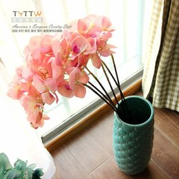 Wholesale Home accessories artificial flower artificial flower butterfly orchid glue silk flower decoration flower high quality hand feel
