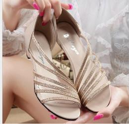 Wholesale Cloth Heels Wholesale - 2016 Summer Sandals Flat Sandals Bling Bling Color Sandal Beach Sandal Casual Shoe Low Heel Shoe