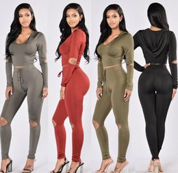 Wholesale Fashion Women s clothing Europe sleeve Two piece suit States Sexy Vertical bar colors Hole Leisure Women Two piece suit Outdoor sports clo