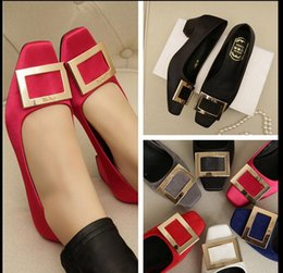 women's shoes Square toe side buckle shallow mouth small yards women's thick heel single shoes wedding shoes red plus size