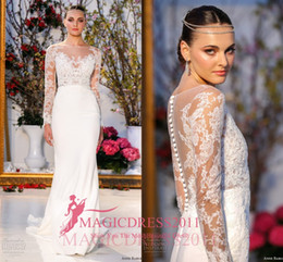 Wholesale Anne Barge Bohemian Wedding Dresses Long Sleeve Lace Vintage Beach Bridal Gowns Sheath Bateau Illusion Garden Court Train Custom Made