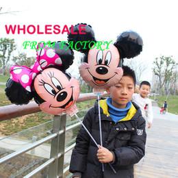 Wholesale 20pcs Mickey y los balones de la hoja del ratón de Minnie con los juguetes del globo de la fiesta de cumpleaños de los niños de la decoración del partido del palillo