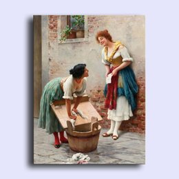 Wholesale Hand painted modern wall art home decorative abstract oil painting on canvas Eugene de Blaas Sharing the News young women x36inch Unframed