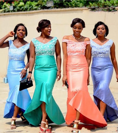 African Nigerian Cheap Mermaid Bridesmaid Dresses Hi-lo Maid Of Honor Dresses Satin Sleeveless Wedding Party Prom Dresses