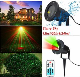 Wholesale Starry Stage Light - 2016 Christmas outdoor Starry Sky Laser Stage Lighting 12in1 20in1 24in1 Red&Green Waterproof Firefly garden swimming pool Landscape laser