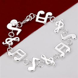 H242 Wholesale fine women 925 sterling silver jewelry music bracelet bangle ,nice 2016 new hot sale Dubble Heart charm chain links bracelet