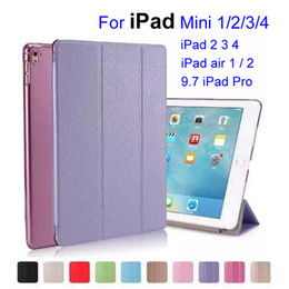 Wholesale Silk Skin Smart Cover for iPad Mini Ultral Slim PU Leather Stand Case inch iPad Pro iPad Air Folding Transparent Clear Covers