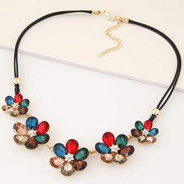 Fashion Choker Statement Maxi Necklace Glass Flower Necklaces & Pendants Rope Cord Vintage Necklace Bijoux Femme