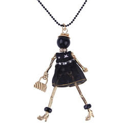 Wholesale French Paris black dressed girl female pendant doll necklace long ball chain necklaces Jewelry Accessories YYN0582