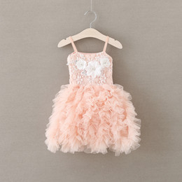 Girls party dress new children beaded flowres dress girls lace suspender tiered tulle tutu dresses kids pink princess dress A9360