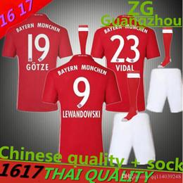 Wholesale 16 AAA quality Bayern Munich Jersey LEWANDOWSKI uniform MULLER ROBBEN COSTA adult kits Home AWAY shirt
