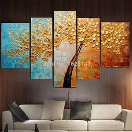 Wholesale Hand Painted Abstract Golden Tree Oil Painting On Canvas Modern Texture Palette Knife Art Piece Home Decor Wall Pictures Sets