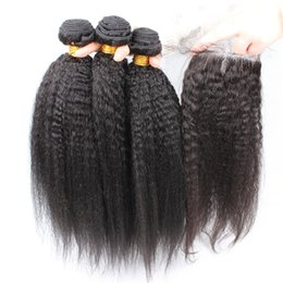 Wholesale 8A Grade Brazilian Afro Kinky Straight Hair With Closure Italian Coarse Yaki Lace Top Closure Pieces x4 With Human Hair Bundles