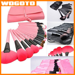 Wholesale 24 Pink Black wood Professional Persian Hair Kit makeup brushes Set With Soft Bag Case Beauty Eye Shadow DHL Free
