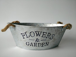Wholesale 20PCS Zinc Bucket Galvanized Planter Metal Planter Oval Sharp with Rope handle vintage flowers and Garden