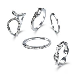 2017 new fashion 925 silver ring 5 sets of bride wedding dinner jewelry set clothing accessories 1 set = 5