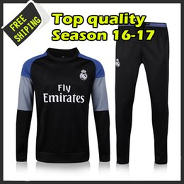 Wholesale 2016 The latest version of the madrid tracksuits Thailand quality pants training suits sweatsuits real jacket and pants