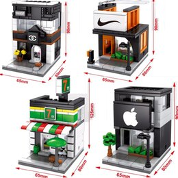 Wholesale 4sets Mini Street View Apple Sports Store Shop Cafe Building Bricks Block CREATOR