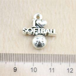 30Pcs 20*19mm antique Silver ToneI heart softball Charms Zinc Alloy DIY Handmade Jewelry Pendants Wholesale