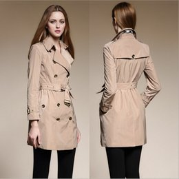 Wholesale 2016 Top Fashion Silk Antiwrinkling Womens Trench Coat Autumn Winter High End Quality Ladies Clothing Best Selling Khaki Pink Black BC1158