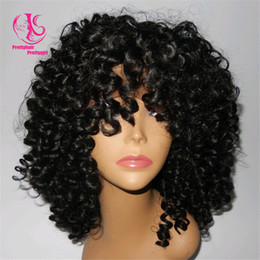 HOT sales Fashion black afro kinky curly synthetic lace front wig heat resistant glueless natural black wig short curly wig for black women