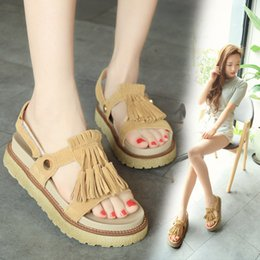 Wholesale Shoes female sandals in the summer of the new flat students tassel shoes platform Ms Joker baba shoe tide of Rome