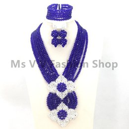 2018 new royal blue African Beads Jewelry Set Lady Costume Crystal Jewelry Set Dubai Gold Plated Necklace Set Free Shipping