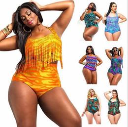 2016 High waist halter tassel mummy Plus size Tankinis Set sexy Brazilian floral print Plus Size Fringe Swimwear swimming suit
