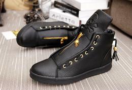 Quality Men Leather Shoes 2016 Winter High Top Skull Gold Zipper Design men Shoes Hip Hop Skeleton Mens Joggers Zapatillas Homme,size39-44