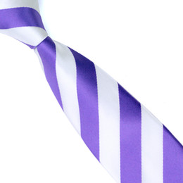 Silk Slim Ties for Men 6cm Wide New Fashion Designer Skinny Necktie Striped Purple White Cross Man's Narrow Tie E-038