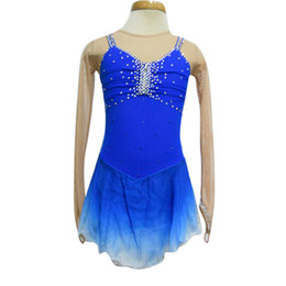 Gradient Blue Color Spandex Skating Dresses Long Sleeve New Brand Fashion Short Figure Skating Dress For Competition