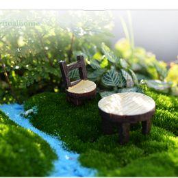 Wholesale 4pcs Vintage Table Chair Fairy Garden Decoration Home Decor Terrarium Figurines Miniatures Baison Tools Resin Craft Gnomes Home Accessories