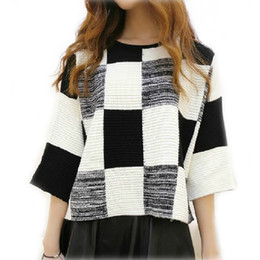 Wholesale-New Womens Black White Plaid Pullovers Sweaters O-Neck Short Coat Loose Jumpers swea-020