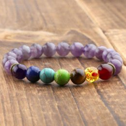 Wholesale Los granos de piedra amatista naturales Chakra Healing Balance pulsera lava Yoga Reiki Oración mm Armbanden Voor Vrouwen