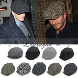 Wholesale Fashion Octagonal Cap Newsboy Beret Hat Autumn And Winter Hats For Men s International Superstar Jason Statham Beckham Male Models M253