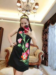 women latest world fashion dresses skirt Embroidery flower black no sleeve
