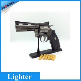 Wholesale Fedex free Python Revolver Lighter Metal Revolver Type Gun Inflatable Windproof Lighter Furniture Ornaments Personalized Ornaments