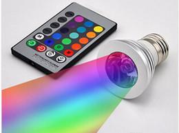 Wholesale Changing 12v Led Bulb - 3W LED lights 16 Color Changing 3W LED Spotlights RGB led Light Bulb Lamp E27 GU10 E14 MR16 GU5.3 with 24 Key Remote Control 85-265V & 12V