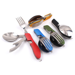 Wholesale Hot Sale Multi function Outdoor Camping Picnic Tableware Stainless Steel Cutlery in Folding Spoon Fork Knife Bottle Opener