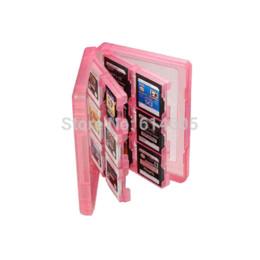 Descuento memoria xbox Pink 28-en-1 Juego de cubierta de la caja de tarjeta de memoria de almacenamiento al soporte del cartucho para Nintendo 3DS gif almacenamiento de la viruta del cartucho